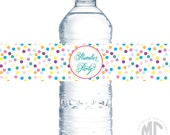 CUSTOMIZABLE Water Bottle Labels / Napkin Rings - Rainbow Sprinkles Collection - Mirabelle Creations