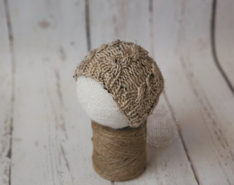 CLEARANCE Oatmeal cable knit beanie simple newborn photo prop