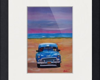 Magnicifient Blue Cuban Oldtimer Street Scene at the Beach - Limited Edition Fine Art Print