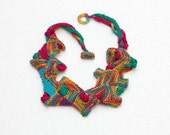 RESERVED Rustic bib necklace, knitted geometric jewelry, colorful wearable art, OOAK