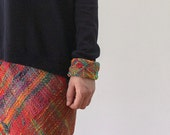 Colorful cotton cuff bracelet, knitted chevron statement jewelry, OOAK
