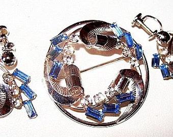 Carl Art Brooch Earring Demi Set Sterling Silver Blue Rhinestones Mid Century Vintage
