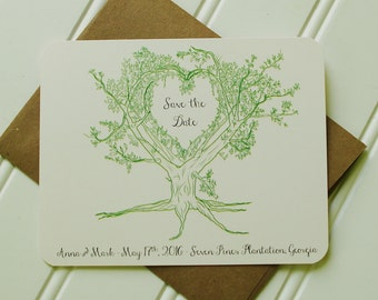 Tree Save the Date: Rustic Save the Date Cards.  Woodland Wedding.  Tree Themed Wedding.  Cream and Kraft.