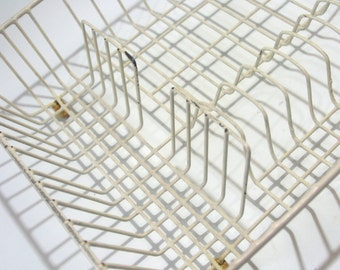 Vintage Large Creamy Off White Shabby Counter Top Dish Drying Rack Farmhouse Kitchen Cottage Chic Perfect for Plate Tray Pots Pans