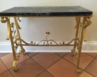 Gilded Wrought Iron Foyer Marble Table