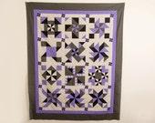 Modern Handmade Quilt, Sampler Quilt, Purple Grey and Black Quilt, Lap Quilt, Toddler Quilt, Wall Quilt