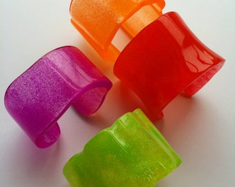 Electric Colorful Handmade Resin Cuffs  On Sale