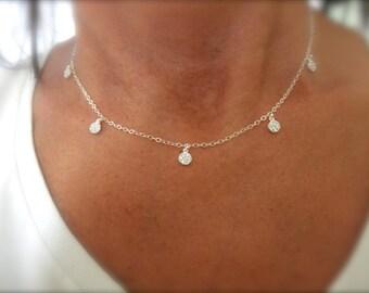 CZ tiny multi charms necklace sterling silver - cz coin charms - solid sterling silver - 925 - cz disc necklace -