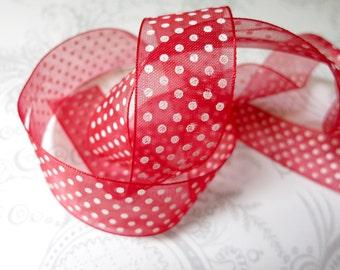 50% off -- Red Swiss Dot Organza Ribbon 7/8 -- 4 yards -- 22mm