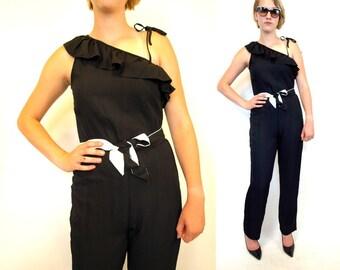 Vintage 80s black asymmetric one shoulder jumpsuit size small
