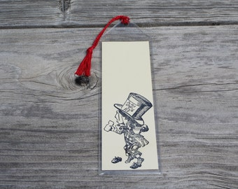 Hand Stamped Alice In Wonderland Mad Hatter Bookmark