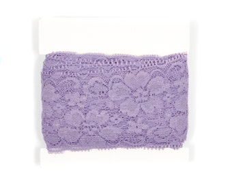 Stretch Lace by the yard for headbands - TWO inch wide - 5 or 10 yards - Dark Lavender
