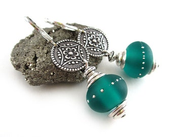Frosted Teal Earrings - Teal Lampwork Glass Earrings - Teal Blue Earrings - Silver Earrings - SRAJD 3955