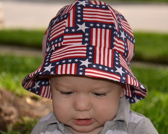 Patriotic Kid's Hats Childrens Hats Baby's Hats 4th Of July Red White Blue Sun Hats Toddlers Hats Hat Bucket Hat Beach Hats Baby Beach Hat