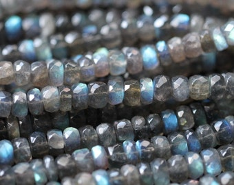 Labradorite Faceted Rondelles, 6 - 7 mm, 12 inches GM1801FR/7