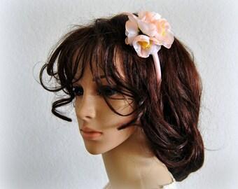 Peach Flower Bridal Headband Wedding Crown Hair accessories Floral Headpiece Wreath Pastel White Rustic Flowergirl Headdress