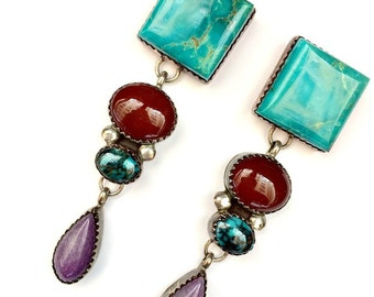 Turquoise, Sugalite, Carnelian, Sterling Silver Southwest American Indian Earrings