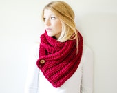 ribbed chunky crochet scarf button cowl scarf - cranberry - the OXFORD