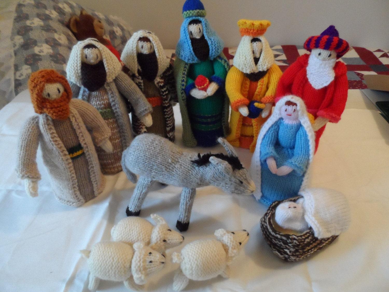 Knitting Pattern Nativity Stable : Nativity Set Nativity Scene Knitted Christmas Nativity