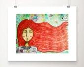 A red haired goddess, Fine Art Print, Wall Art Home Decor, Whimsical Art, Poster Art Prints, Red Goddess Art, Gift for Women, Girl Art