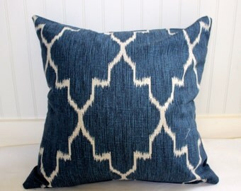 Navy Blue and Oatmeal Geometric Pillow Cover in Designer  Fabric