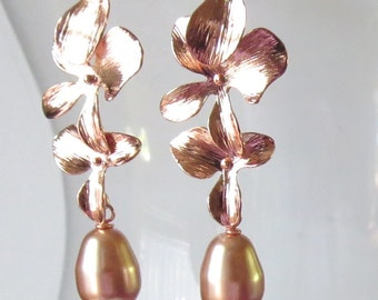 Rose Gold Cascading Flower Earrings with Pearls
