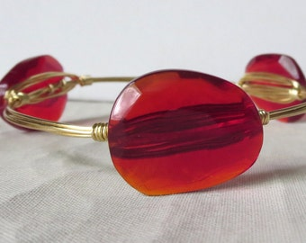 "Red Glass Bangle Bracelet ""Bourbon and Bowties"" Inspired"