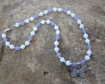 Girls Purple and White Butterfly Necklace #913