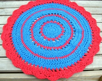 Crocheted round rug - Cottage Rug, area rug - red, poppy, blue, cyan