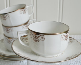 Tea and coffee cups , vintage Swedish chinaware , art deco porcelain ,  gold and brown, 1920's china