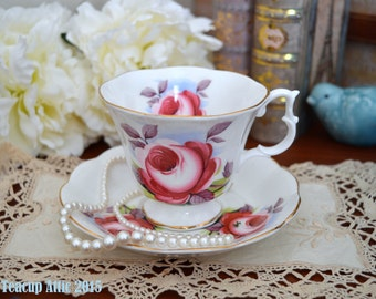 ON SALE Royal Albert Teacup And Saucer Set featuring Large Deep Pink Cabbage Rose, Mother's Day, Wedding Gift, English Teacup, ca. 1960