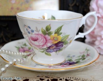 ON SALE Royal Albert Floral Malvern Teacup And Saucer, English Bone China Teacup Duo, Wedding Gift, Teaparty,  ca. 1960-