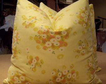 "Vintage Shabby Cottage Chic Sunshine ""DAISY DAISY"" Cotton Poplin Print Custom Pillows Pair - Italian Cotton Back - 20"" Square - CIRCA 1970's"