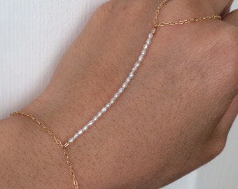 White Pearl Beaded Gold Hand Chain also available in Silver and Rose Gold