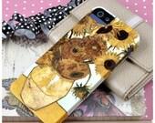 "iPhone SE, iPhone 7 7PLUS, 6 6S 6Plus Case, Vincent Van Gogh ""Sunflowers"" Yellow and Orange. Flower painting"