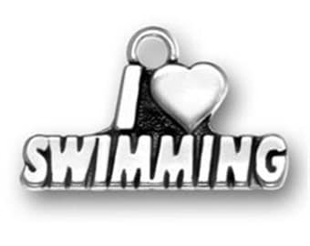 I Heart Swimming - Sterling Silver Charm