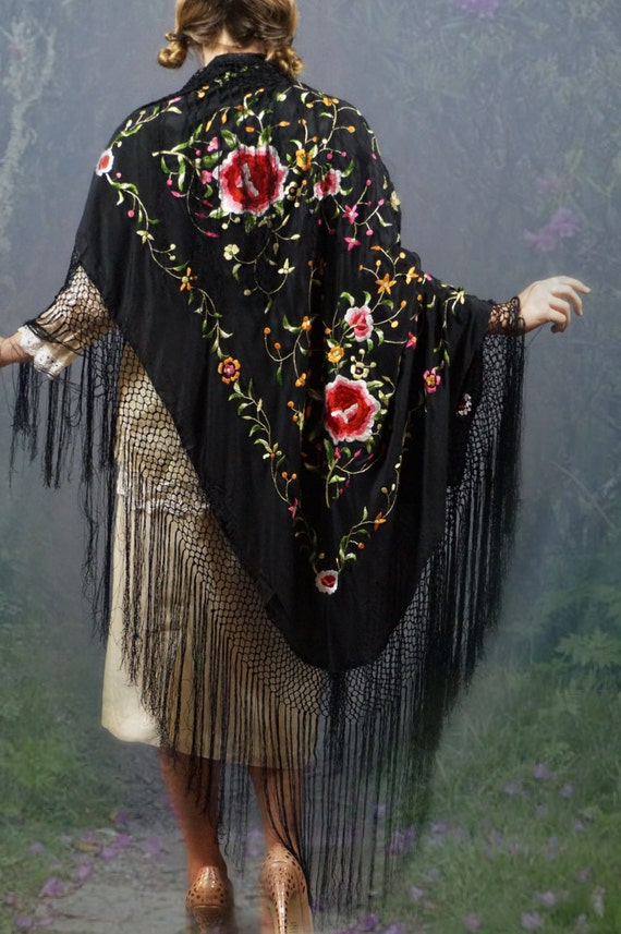 Huge Silk Hand Embroidered Piano Shawl Fringed By Andeebird