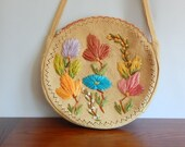 Vintage Straw Purse Large Round Beach Tote Summer Fashion Beach Bag