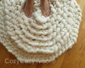 Modern chunky bedside, living room rugs handmade of wool . Newborn photo prop.   DIMENSIONS:, 27  and 34 inch in diameter.