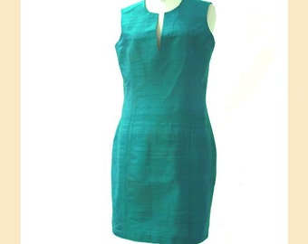 Vintage 90s shift dress, teal green, silk dupion, sleeveless dress, semi-fitted style, UK size 12 to 14