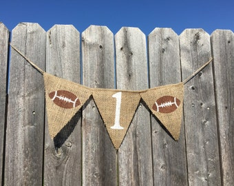 FIRST BIRTHDAY FOOTBALL, Highchair Birthday Banner, Highchair Banner Boy, Boy First Birthday Banner, One Highchair Banner, Highchair Garland