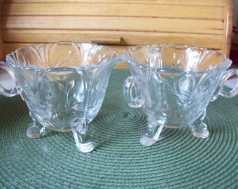 Floral Etched, Creamer & Sugar Set