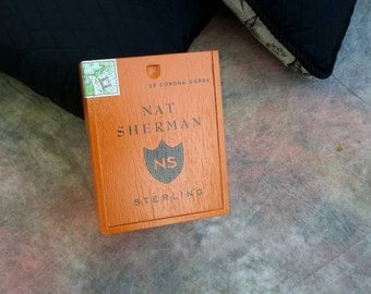 Cigar Box Nat Sherman Special Edition Sterling Brand Pumpkin Colored Slide Top Wood Chest by IndustrialPlanet