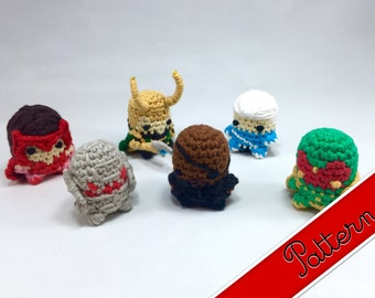 PDF Pattern for Crocheted Avengers (Vol 2) Mini Amigurumi Keychain Dolls Loki, Nick Fury, Ultron, The Vision, Scarlet Witch, Quicksilver