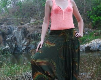 Thai  Pants in Cotton, Green & Ochre Circles painting Print