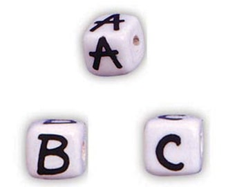 3 Large Ceramic Alphabet Beads - Choose Any 3 Letters