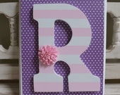 LARGE WALL LETTER Plaque Monogram Initials Custom Name Wall Letters Personalized Girls Room Flowers Art New Baby