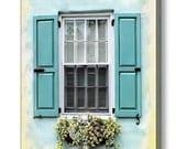 Aqua Yellow White Shutters Window Boxes Springtime Charleston SC  Architecture Gallery Wrap Canvas Photography Art Giclee Canvas Print