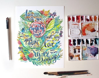 Zephanaiah 3:17 He is Mighty to Save and Will Rejoice Over You with Singing Watercolor Art Print