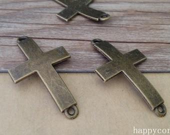 10pcs of  Antique bronze Cross connector  pendant charm 23mmx43mm